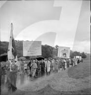 Transparent; Protest gegen Kraftwerkbau; Wasserkraftwerk; 1952
