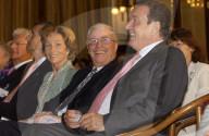 Silvia und Christoph Blocher und Gerhard Schröder 2004