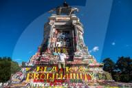 NEWS - BLM: Ziel von Graffitis und Slogans - die Statue von Südstatten-General Lee in Richmond