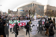 NEWS - USA: Demonstranten am Tag der Schlussplädoyers im George Floyd-Prozess