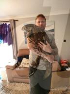 FEATURE - Überlebender Dino? Matt Reid geht mit seiner Echse T-Rex in Andover spazieren