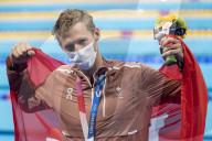 TOKIO 2020 OLY -  Der Schweizer Schwimmer Jeremy Desplanches jubelt nach dem Gewinn der Bronzemedaille über 200m-Lagen