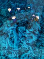 FEATURE - Arbeiter sitzen inmitten eines blauen Meeres, während sie Löcher in riesigen Fischernetzen flicken