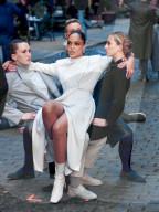 """PEOPLE - Tessa Thompson am Filmset der Fernsehserie """"Westworld"""" in New York City"""